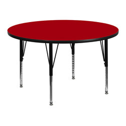 Flash Furniture - Flash Furniture 42 Inch Round Activity Table w/ Red Thermal Fused Laminate Top & - Flash Furniture's Pre-School XU-A42-RND-RED-T-P-GG warp resistant thermal fused laminate round activity table features a 1.125'' top and a thermal fused laminate work surface. This Round Laminate activity table provides a durable work surface that is versatile enough for everything from computers to projects or group lessons. Sturdy steel legs adjust from 16.125'' - 25.125'' high and have a brilliant chrome finish. The 1.125'' thick particle board top also incorporates a protective underside backing sheet to prevent moisture absorption and warping. T-mold edge banding provides a durable and attractive edging enhancement that is certain to withstand the rigors of any classroom environment. Glides prevent wobbling and will keep your work surface level. This model is featured in a beautiful Red finish that will enhance the beauty of any school setting. [XU-A42-RND-RED-T-P-GG]