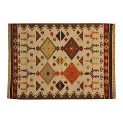 Flat Weave 100% Wool Anatolian Kilim 5'x7' Hand Woven Reversible Rug SH15776 - Soumaks & Kilims are prominent Flat Woven Rugs.  Flat Woven Rugs are made by weaving wool onto a foundation of cotton warps on the loom.  The unique trait about these thin rugs is that they're reversible.  Pillows and Blankets can be made from Soumas & Kilims.