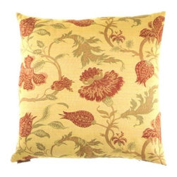 """Canaan - 24"""" x 24"""" Sussex Floral Print Throw Pillow - Sussex floral print throw pillow with a feather/down insert and zippered removable cover. These pillows feature a zippered removable 24"""" x 24"""" cover with a feather/down insert. Measures 24"""" x 24"""". These are custom made in the U.S.A and take 4-6 weeks lead time for production."""