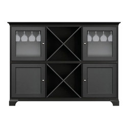 Howard Miller Custom - Molly Cabinet w 2 Doors in Antique Black - This cabinet is finished in Antique Black on select Hardwoods and Veneers, with Nickel hardware. 2 doors with plain Glass and 2 inset panel doors. 2 cross storage shelves and 2 stemware racks. 2 adjustable interior shelves. Cove profile top and cove profile base. Hardware: knobs on doors. Features soft-close doors and metal shelf clips. Simple assembly require. 73 1/2 in. W x 17 in. D x 54 3/4 in. H