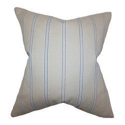 The Pillow Collection - Drusilla Natural Blue 18 x 18 Stripes Throw Pillow - - Pillows have hidden zippers for easy removal and cleaning  - Reversible pillow with same fabric on both sides  - Comes standard with a 5/95 feather blend pillow insert  - All four sides have a clean knife-edge finish  - Pillow insert is 19 x 19 to ensure a tight and generous fit  - Cover and insert made in the USA  - Spot clean and Dry cleaning recommended  - Fill Material: 5/95 down feather blend The Pillow Collection - P18-D-32660-NATURALBLUE-V46-C2