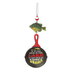 MidwestCBK - Fishing Christmas Tree Ornament - Frying Pan, Fish & Bobber Holiday Decoration - Funny Fishing Dangle Christmas Ornament