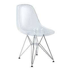 George Nelson - Eiffel Ghost Dining Chair w Stainless Steel B - True modern classic. Clear shell seat. Extremely comfortable. Resistant to scratches and bumps. Easy to clean. Chrome plated. Eiffel Tower steel base. Inspired by the innovative mid century Herman Miller Eiffel base chair. Minimal assembly required. Seat height: 16 in.. 18 in. W x 22.5 in. D x 32.25 in. H (10.34 lbs.)Inspired by Kartell Lois XIV Ghost Chair, Made from a single mold in transparent polycarbonate, A Louis XIV style chair in transparent: revisited baroque item type, to astonish, excite and fascinate. A clever combination of lightness and solidity, the result of careful and meticulous research into the material, polycarbonate, resistant to scratches and bumps, and easy to clean.