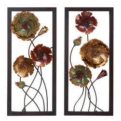 "Benzara - Metal Wall Decor - Set of 2 - METAL WALL DECOR 2 ASST comes in a set of two. They have the beautiful floral pattern in metal, created in different colors.; Material: Rust free premium grade metal alloy; Color: Brown, red and green; Exhibits special liking for wall art; Classic wall clock; Designed for elite class decor enthusiasts; Dimensions: 32""H x 14""W"