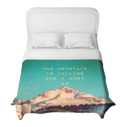 DiaNoche Designs - Mountain is Calling Duvet Cover - Lightweight and super soft brushed twill duvet cover sizes twin, queen, king. Cotton poly blend. Ties in each corner to secure insert. Blanket insert or comforter slides comfortably into duvet cover with zipper closure to hold blanket inside. Blanket not included. Dye Sublimation printing adheres the ink to the material for long life and durability. Printed top, khaki colored bottom. Machine washable. Product may vary slightly from image.