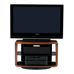 BDI - Valera 9723 TV Stand - Sturdy and unobtrusive, this TV stand is the smart choice for your flat screen and accompanying components. It's got a wood frame, tempered glass shelves and a steel base that swivels so you can always watch your way.