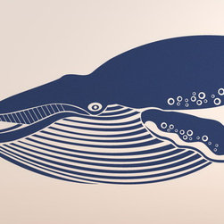 Giant Blue Whale Removable Vinyl Wall Art Decoration - At 98 feet (30 meters) in length and 400,000 pounds (180 metric tons) or more in weight, the blue whale is largest known animal to have ever existed.