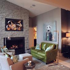 Modern Family Room by Heather Garrett Design