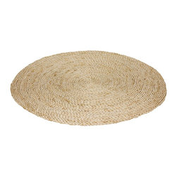 Oriental Furniture - 3 ft. Woven Maize Area Rug - Natural - A unique, tropical style alternative to nylon or fabric area rugs, hand crafted from sun dried maize leaf. Just under three feet in diameter, it's an ideal size for a welcome mat or a rustic table top accent. Eco-friendly materials, attractive and lightweight, great for modern eclectic interior design and decor.