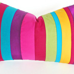 PillowThrowDecor - Bold and Beautiful Color Band Pillow - Accent pillows with bold, vibrant hues in brilliant playful colors! Lime green, raspberry, turquoise, plum purple fuchsia and yellow... such yummy colors to throw into your eclectic Bohemian mix! Dress up your  world with fun kaleidoscope color!