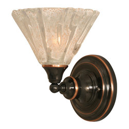 "Toltec - Toltec 40-BC-7195 Black Copper Finish Wall Sconce with 7"" Italian Ice Glass - Toltec 40-BC-7195 Black Copper Finish Wall Sconce with 7"" Italian Ice Glass"