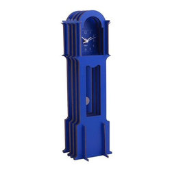 Wolf Designs - Jigsaw Mini Grandfather-Blue - Our Jigsaw Mini Grandfather easy to assemble (no tools required), this blue grandfather clock creates a 3-dimensional appearance using four flat wooden cross-sections stacked back-to-front for a life-size pop-up book style construction.