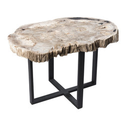 """Petrified Forests - Petrified Wood Upper West Side Table - Each piece is 20 million years in the making. Petrified woods are essentially trees that time has very slowly turned to stone. Hand-selected from around the globe, your fossil piece is unique in shape with the colors reflecting minerals present during the petrification process. This limited resource is harvested sustainably, preserved eternally, and sure to increase in value. This verstaile pieces is inspired by the cafes of West Village and can work as either a coffee/cocktail table or a sturdy bench. This piece, like all of our pieces, is a completely unique piece of furniture.     Height: 17.5""""   Width: 21.5""""   Depth: 17.5""""    Weight: 55 lbs"""