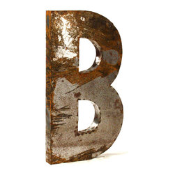 """Kathy Kuo Home - Industrial Rustic Metal Large Letter B 36""""H - Create a verbal statement!  Made from salvaged metal and distressed by hand for an imperfect, time-worn look."""