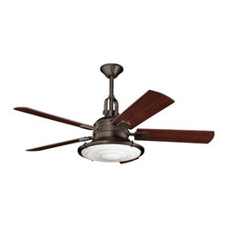 "DECORATIVE FANS - DECORATIVE FANS Kittery Point 52"" Contemporary Ceiling Fan X-ZO020003 - This Kichler Lighting ceiling fan blends warm traditional finishes with vintage industrial styling. The Olde Bronze hue is paired with a Fresnel lens and five reversible walnut and medium cherry fan blades."