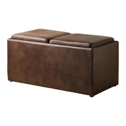 Homelegance - Homelegance Claire Cocktail Ottoman in Warm Mottled Polished Microfiber - This functional two seat storage ottoman reverses to reveal 2 individual serving trays and 2 cleverly stored stools. Covered in warm mottled polished microfiber, this look is also offered in dark brown bi-cast vinyl.