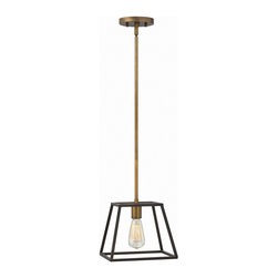Hinkley Lighting - Hinkley Lighting 3337BZ Fulton 1 Light Mini Pendants in Bronze - Fulton�s minimalist beauty emphasizes �less is more� with vintage industrial style. This clean, airy tapered cage design is constructed without glass and the unique square candle sleeves rest on a discreet �H�-shaped cluster.