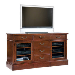 """Hekman - Weathered Cherry 66"""" Entertainment Console - Hekman Weathered Cherry 66"""" Entertainment Console; Weathered Cherry Finish; Features plenty of storage space behind beveled glass doors and multiple drawers; Adjustable Shelves (2, - 1 behind each door) inside doors can accommodate electronic components; Speaker grill options is available on some models; Tech-Ready features include power outlet, gaming port, wire management, and docking station for MP3 players and other personal devices; Dimensions: 66""""L x 21""""W x 36.5""""H; Left/Right Cabinet Interior: 20.8""""L x 18""""W x 23.4""""H; One wood shelf behind each door"""