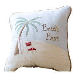 "Taylor Linens - Beach Bum Pillow - The sand, the sun, the lapping waves. You can get that beach feeling anytime — minus the gulls — with this pillow. Hand-appliqued and embroidered on 100 percent cotton, it's filled with white goose feather and down and features a sandy woven trim. Take your sofa, bed or bench beyond the ""pail."""