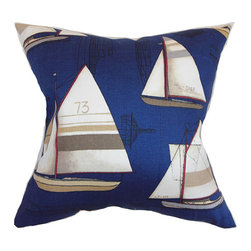 The Pillow Collection - Hemavan Blue 18 x 18 Nautical Throw Pillow - - Pillows have hidden zippers for easy removal and cleaning  - Reversible pillow with same fabric on both sides  - Comes standard with a 5/95 feather blend pillow insert  - All four sides have a clean knife-edge finish  - Pillow insert is 19 x 19 to ensure a tight and generous fit  - Cover and insert made in the USA  - Spot clean and Dry cleaning recommended  - Fill Material: 5/95 down feather blend The Pillow Collection - P18-D-21013-REGATTA-C100