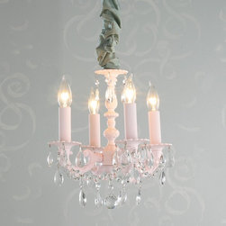 Dainty Metal and Crystal Mini Chandelier - 4 light 2 colors -