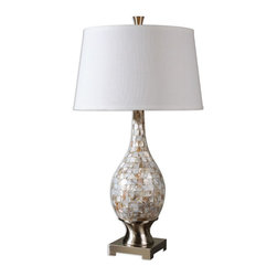 Uttermost - Uttermost Madre Mosaic Tile Lamp 26491 - Mosaic tiles of Mother of Pearl accented with brushed aluminum accents. The round, slightly tapered hardback shade is a white linen fabric.