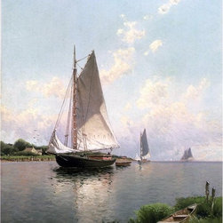 """Alfred Thompson Bricher Blue Point, Long Island  Print - 18"""" x 24"""" Alfred Thompson Bricher Blue Point, Long Island premium archival print reproduced to meet museum quality standards. Our museum quality archival prints are produced using high-precision print technology for a more accurate reproduction printed on high quality, heavyweight matte presentation paper with fade-resistant, archival inks. Our progressive business model allows us to offer works of art to you at the best wholesale pricing, significantly less than art gallery prices, affordable to all. This line of artwork is produced with extra white border space (if you choose to have it framed, for your framer to work with to frame properly or utilize a larger mat and/or frame).  We present a comprehensive collection of exceptional art reproductions byAlfred Thompson Bricher."""