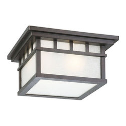 Dolan Designs Lighting - Outdoor Flushmount Ceiling Light - 9119-34 - This bold and handsome Arts and Crafts-inspired ceiling fixture features clean lines and an olde world iron finish. Takes (2) 75-watt incandescent A19 bulb(s). Bulb(s) sold separately. UL listed. Dry location rated.