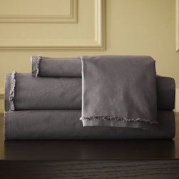 Organic Cotton Frayed-Edge Sheet Set - Slate | west elm - Love these sheets, the frayed edges are gorgeous