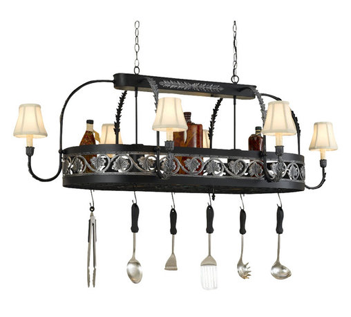 Hi-Lite MFG - Leaf 8-Lite Pot Rack - Includes six pot rack hooks, 3 ft. chain and 7 ft. wire. Accessories and bulbs not included. UL listed. Fabric shade. Two 100W MED and six 60W CAND INC for lamps. Voltage: 120 V. Made from steel. Black leather finish with accent silver. 58 in. L x 36 in. W x 20 in. HHi-Lite achieved success through attention to detail and stubbornness to only manufacture the highest quality product. Hi-Lite has built its reputation as a premier lighting manufacturer by using only the finest raw materials, inspirational designs, and unparalleled service. This allows us great flexibility with our designs as well as offering you the unique ability to have your custom designs brought to light.