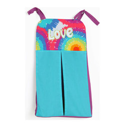 "Terrific Tie Dye - Diaper Stacker - Diaper stacker is super fun! Designed in a combination of solid aqua and purple cotton print fabrics with appliqu� ""love"" on the front in white on top of the collections signature cotton print fabric ""Tie Dye"".   Be the first to my your statement with this collection!"