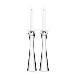 Orrefors - Houston Candlestick Pair - A crystal-clear candlestick showcasing classic Scandinavian design. A perfect accent for any home.