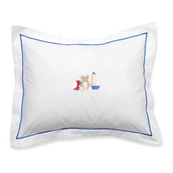 Jacaranda Living - Baby Boudoir Pillow, Sailor Teddy - Sweet dreams little sailor. This adorable pillow cover elevates the traditional teddy bear motif with its clever hand embroidering and blue trimmed satin border. Perfect as a baby shower gift and its machine washable.
