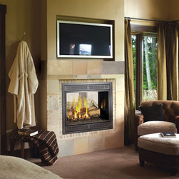 Avalon 864 See-Thru Gas Fireplace - Ideal for heating two separate rooms at once, the Avalon 864 See-Thru fireplace offers two sides of fire viewing. Each side of the fireplace can also be personalized with faces to accommodate the room, and have been designed to offer a different log set appearance into each room.