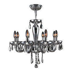 "Worldwide Lighting - Gatsby 8 Light Chrome Finish and Chrome Blown Glass Chandelier 22"" x 19"" Medium - This stunning 8-light Chandelier only uses the best quality material and workmanship ensuring a beautiful heirloom quality piece. Featuring a radiant chrome finish and blown glass in glossy chrome finish, this elegant chandelier is a work of art in its quality and beauty. Worldwide Lighting Corporation is a privately owned manufacturer of high quality crystal chandeliers, pendants, surface mounts, sconces and custom decorative lighting products for the residential, hospitality and commercial building markets. Our high quality crystals meet all standards of perfection, possessing lead oxide of 30% that is above industry standards and can be seen in prestigious homes, hotels, restaurants, casinos, and churches across the country. Our mission is to enhance your lighting needs with exceptional quality fixtures at a reasonable price."