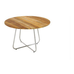 "Mama Green - Gemmy Dining Table, Wood, 120"" - The Gemmy dining series combines an interwoven rounded base with varying sizes in round tops. Frames can be done in stainless steel or powder coated aluminum and table tops can be done in acid etched colored glass or FSC certified reclaimed teak."