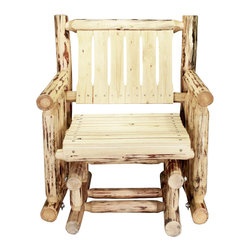 Montana Woodworks - Single Seat Glider - Hand crafted. Skip peeled by hand using old fashioned draw knives. Heirloom quality. Solid lodge pole pine. Made from U.S. solid grown wood. Exterior stain finish. Made in U.S.A.. Assembly required. 32 in. L x 26 in. W x 34 in. H (75 lbs.). Warranty. Use and Care InstructionsA log glider made especially for the individual. Glide away your worries alone or buy several for friends and family to join in. Each piece signed by the artisan who makes it.