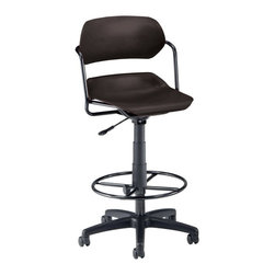 """OFM - OFM Martisa Armless Swivel with Drafting Kit with Black Frame in Black - OFM - Drafting Chairs - 200DKBLKBLK - Contemporary style and comfort come together with OFM's 200-DK Martisa Series Task Stool. Choose from a variety of seat and frame color combinations for this contemporary design. Users get easy positioning with the gas lift seat height adjustment and the contoured polypropylene seat and back. The seat swivels a full 360 degrees. The 16-gauge tubular steel frame and 25"""" black 5-star wheeled base add stability. Foot ring gives users a leg up in comfort. Weight capacity up to 250 lbs."""