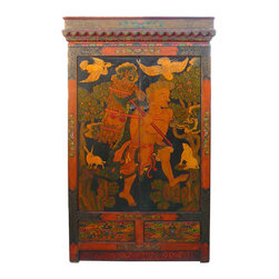 Golden Lotus - Tibetan Lama Meditation Scenery Armoire Cabinet - This is a meaningful Tibetan cabinet with nice hand painted scenery of a Buddhism study person living in the forest. There are animals gathering around him as he is logging. It shows the peaceful and the truthful of the road to reach the Buddha in Tibetan Buddhism. We earn the credit of meditation through our daily life.