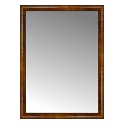 """Posters 2 Prints, LLC - 29"""" x 39"""" Belmont Light Brown Custom Framed Mirror - 29"""" x 39"""" Custom Framed Mirror made by Posters 2 Prints. Standard glass with unrivaled selection of crafted mirror frames.  Protected with category II safety backing to keep glass fragments together should the mirror be accidentally broken.  Safe arrival guaranteed.  Made in the United States of America"""