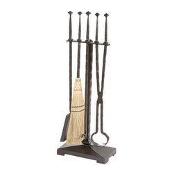 Stone County Ironworks Forest Hill Fire Tool Set - 5 Piece Set - The Stone County Ironworks Forest Hill Fire Tool Set - 5 Piece Set is an essential for any home with a fireplace. This comprehensive set includes a broom, poker, tongs, shovel, and a stand, which keeps these tools neatly arranged. Made by skilled artisans, these metal tools are as durable as they are visually appealing. To enhance the set's rustic appeal, the broom is hand-tied by talented squires, using high quality materials and ancient techniques. All tools are hand-forged, with a diamond motif.