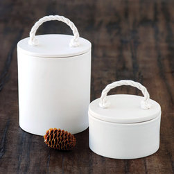 Rope Canisters - These ethically-made rope canisters are sweet hold-alls for the bathroom, fit for cotton balls and other small things.