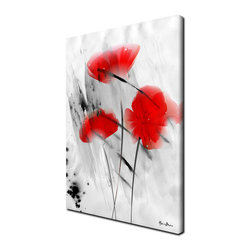 Ready2HangArt - Ready2hangart Alexis Bueno 'Painted Petals II' 4-piece Canvas Wall Art, 30 in. H - The 'Painted Petals II' canvas art depicts the boldness of flower petals as vivid red blossoms flare through a gray ground. This canvas features a modern floral and still life style and is gallery-wrapped for a look that will be cohesive with your home decor.