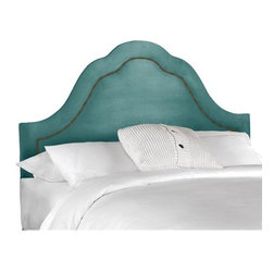 Arch Inset Nail Button Upholstered Headboard, Velvet Caribbean - The great thing about fabric headboards is that they are available in an array of colors. How fun is this pretty turquoise beauty?