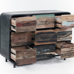 Retro / Midcentury Modern, 9 Drawer Dresser - A 9 drawer midcentury modern, retro style dresser made from salvaged / reclaimed boat wood.  This furniture has a rustic / modern / industrial look and is very well made.