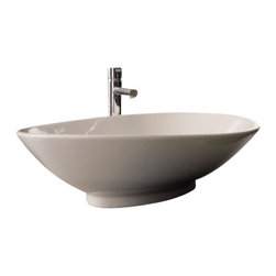 Scarabeo - Oval-Shaped White Ceramic Vessel Sink, No Hole - Contemporary above counter oval-shaped white ceramic sink without overflow. Sleek vessel bathroom sink with no hole. Made in Italy by Scarabeo.