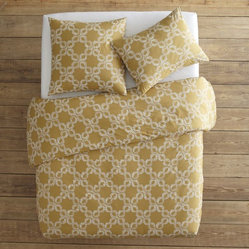 Organic Carved Circles Duvet Cover + Shams, Maize/White