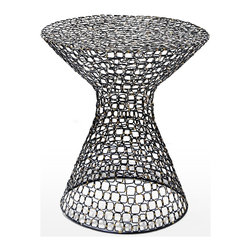 Kathy Kuo Home - Dendara Modern Hourglass Sculptural Wire Frame Table - Constructed from hand wrought iron in little squares, the joinery has little flecks of gold adding an element of interest in visual interest to this modern sculptural side table.
