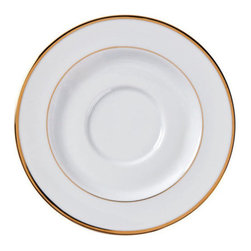 CAC China - Golden Royal 5 3/4 Inch White Saucers with Gold Trim - Case of 36 - DescriptionsC.A.C China provides durable dinnerware at all levelsincluding super white porcelain fine bone china American white chinacolored glaze china and Asian style china. C.A.C China offers a variety of innovative shapes from square rectangular triangular wavy to round that will brighten up any tables for modern trendy restaurants hotels resorts clubs caterers cruises etc. All C.A.C China products are oven microwave and dishwasher safe.