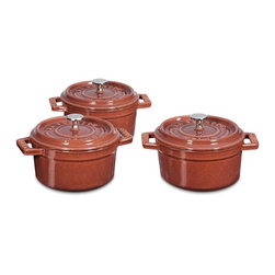Staub Mini Round Cocotte Set, 1/4-Qt., Red - Whether you are making souffles or popovers, I love these red Staub mini pots. They go from oven to table just perfectly.